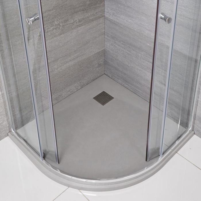 Viertelkreis-Duschwanne mit Schiefer-Effekt in Hellgrau – 900mm x 900mm - Rockwell