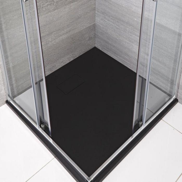 Duschwanne mit Schiefer-Effekt, Anthrazit, quadratisch - 800mm x 800mm - Rockwell