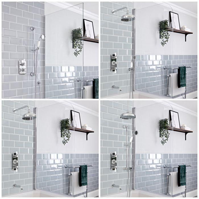Dusch- und Badesystem mit Unterputz-Thermostat – Funktionen wählbar – Chrom/Weiß – Elizabeth