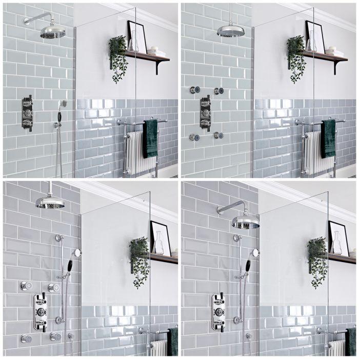 Duschsystem mit Unterputz-Thermostat – Funktionen wählbar – Chrom/Schwarz – Elizabeth