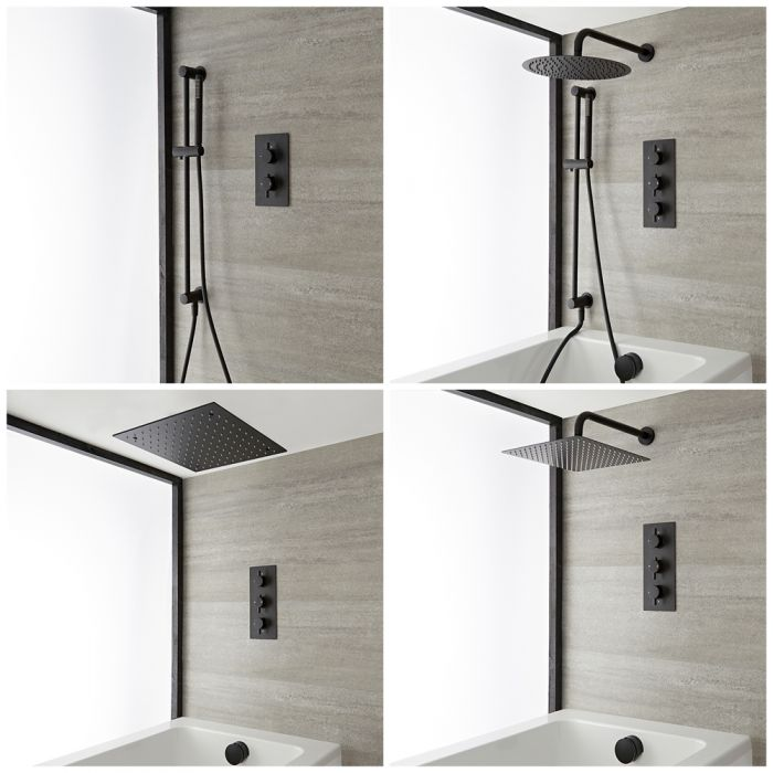 Dusch- und Badesystem mit Unterputz-Thermostat – Funktionen wählbar – Schwarz – Nox