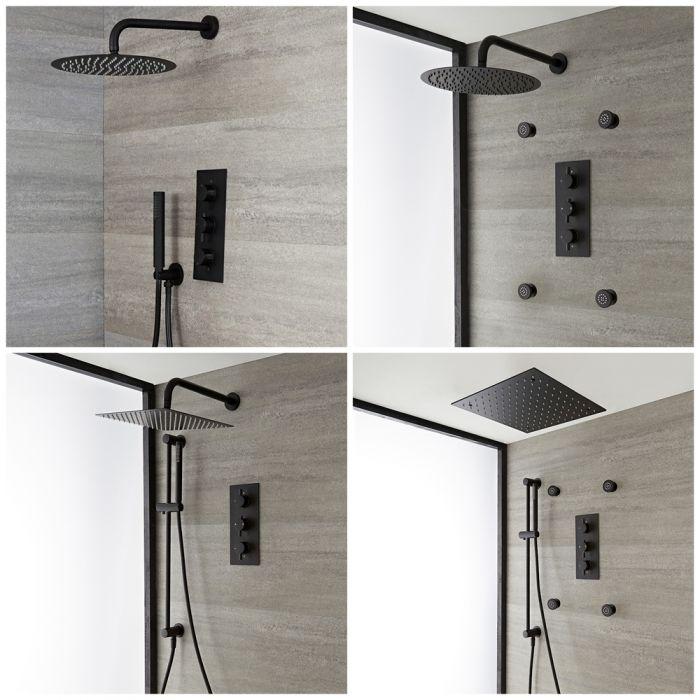 Duschsystem mit Unterputz-Thermostat – Funktionen wählbar – Schwarz – Nox