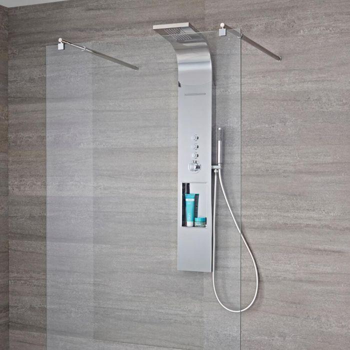 Aufputz-Duschpaneel mit Regal und Thermostat – mit Regen/Wasserfall-Duschkopf und Handbrauseset - Chrom - Vista