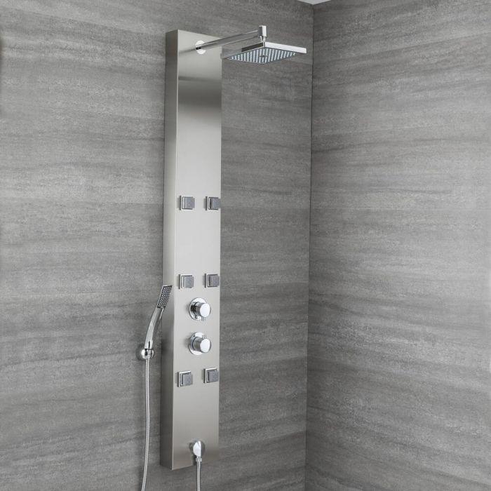 Aufputz-Duschpaneel mit Thermostat – mit Duschkopf, Körperdüsen und Handbrauseset - Chrom - Easton