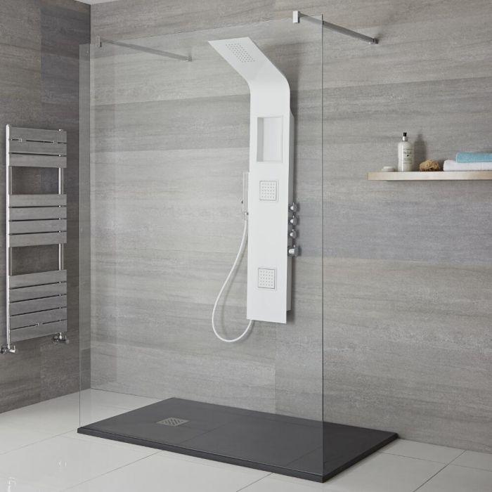 Aufputz-Duschpaneel mit Thermostat – mit Duschkopf, Handbrauseset und Körperdüsen – Weiß – Stamford