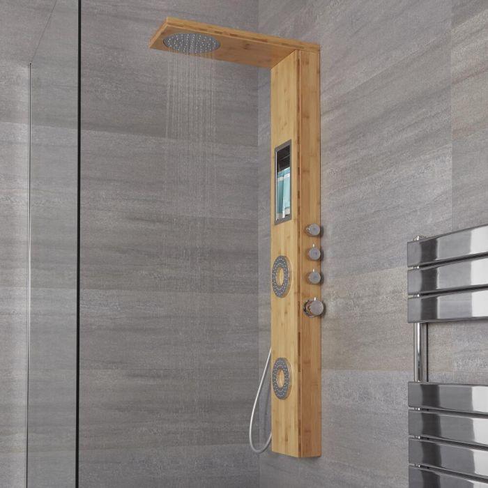 Duschpaneel mit Regal und Thermostat - mit Regenduschkopf, Handbrauseset und Körperdüsen - Bambus - Lako