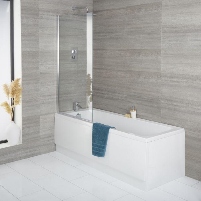 Einbau-Badewanne – Größe wählbar, mit eckigem Badewannenaufsatz und Schürze - Exton
