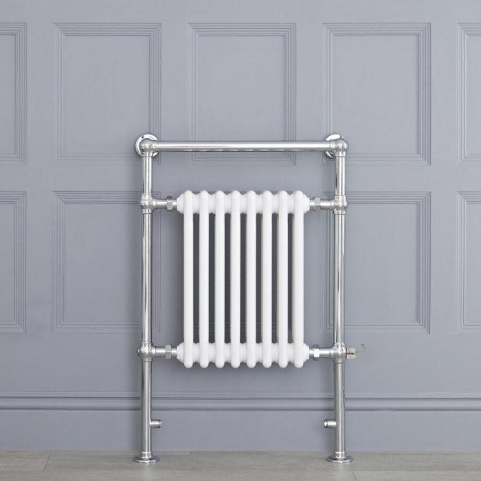 Weißer traditioneller Handtuchheizkörper, elektrisch, 930mm x 620mm x 155mm mit 600W Heizstab - Elizabeth