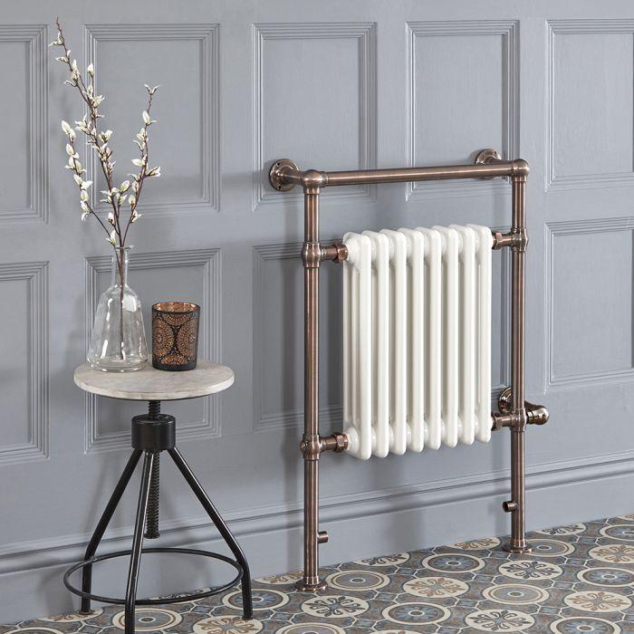 Elektrischer Traditioneller Badheizkörper,Weiß/Bronze, 930mm x 620mm - Elizabeth