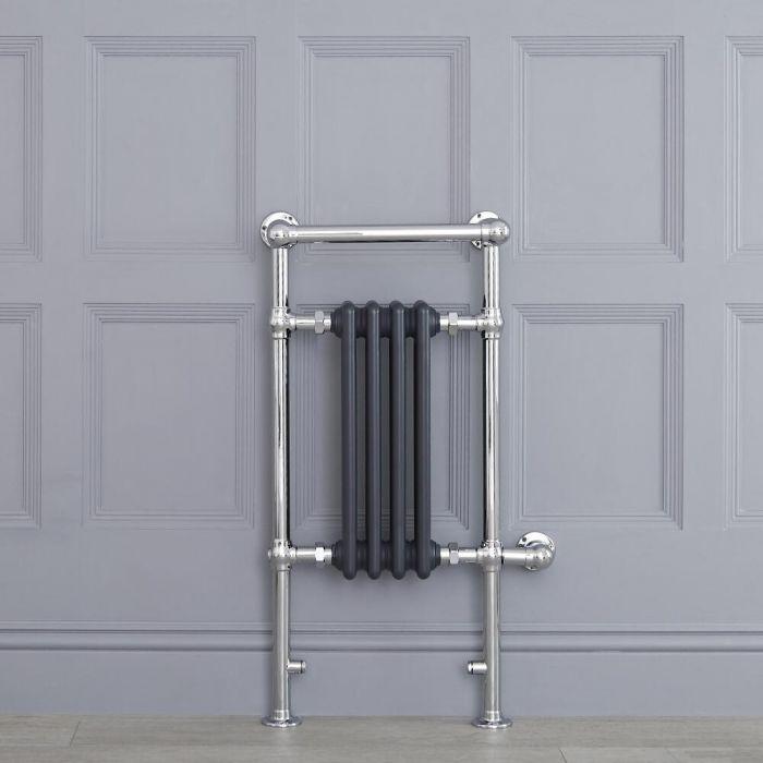 Anthrazit traditioneller Handtuchheizkörper, elektrisch, 930mm x 452mm x 230mm mit 400W Heizstab - Elizabeth