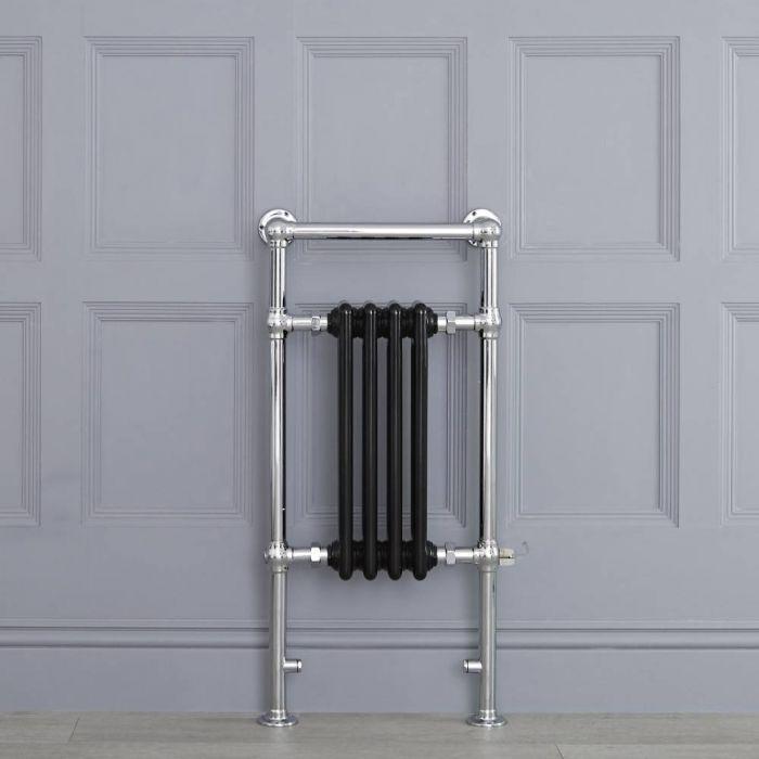 Schwarzer traditioneller Handtuchheizkörper, elektrisch, 930mm x 452mm x 155mm mit 400W Heizstab - Elizabeth