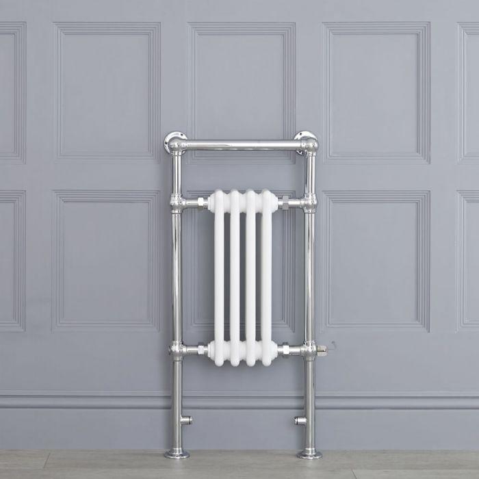 Weißer traditioneller Handtuchheizkörper, elektrisch, 930mm x 452mm x 155mm mit 400W Heizstab - Elizabeth