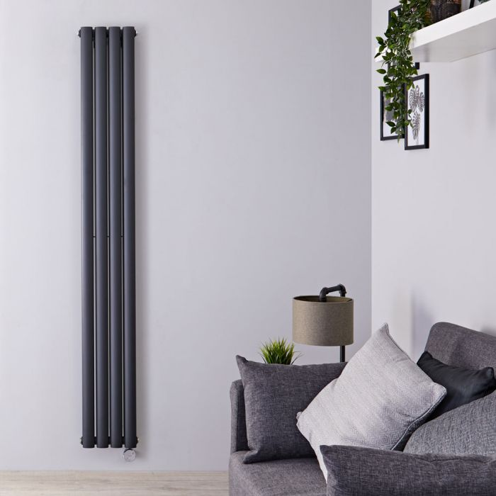 Design Heizkörper Elektrisch Vertikal Doppellagig Anthrazit 1780mm x 236mm inkl. 1x 1200W Heizelemente - Revive