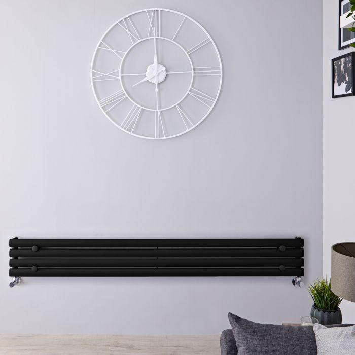 Design Heizkörper Horizontal Schwarz 236mm x 1780mm 646W (einlagig) - Revive Slim