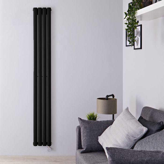 Design Heizkörper Elektrisch Vertikal Einlagig Matt-Schwarz 1780mm x 236mm inkl. ein 800W Heizelement - Revive