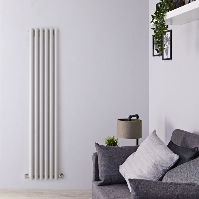 Design Heizkörper Vertikal Silber/Grau 1780mm x 354mm 1043W (einlagig) - Savy