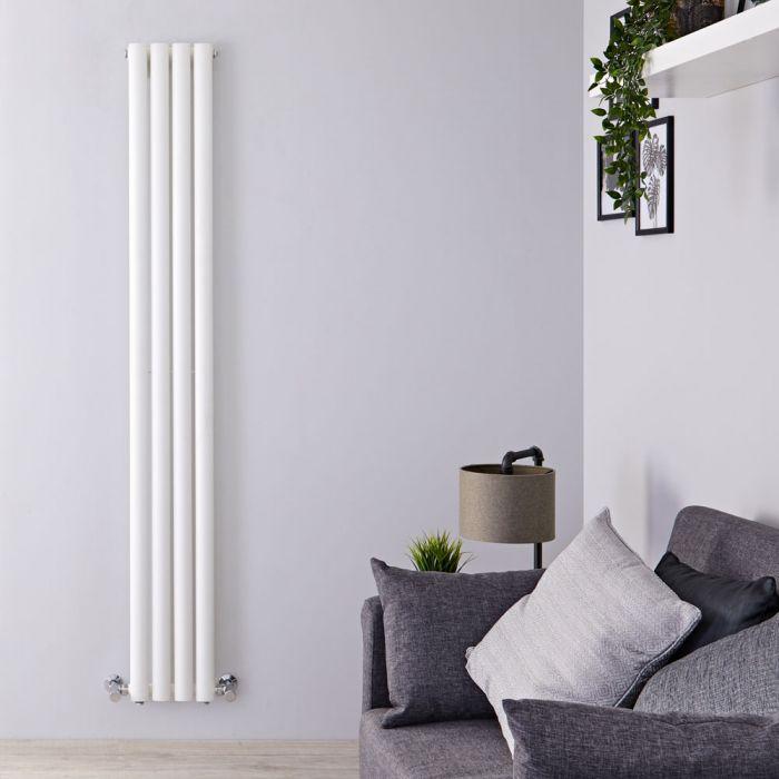 Design Heizkörper Vertikal Weiß 1780mm x 236mm 594W (einlagig) - Revive Slim