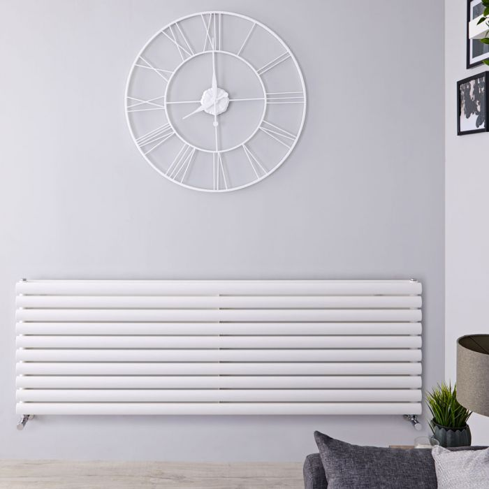 Design Heizkörper Horizontal Weiß 590mm x 1780mm 2066W (doppellagig) - Revive