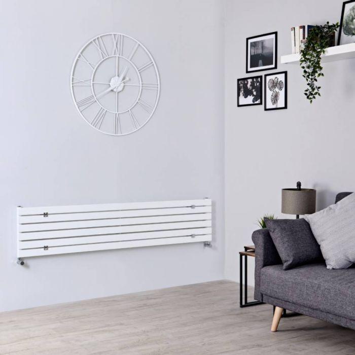Design Heizkörper Horizontal Weiß 354mm x 1780mm 820W (einlagig) - Sloane