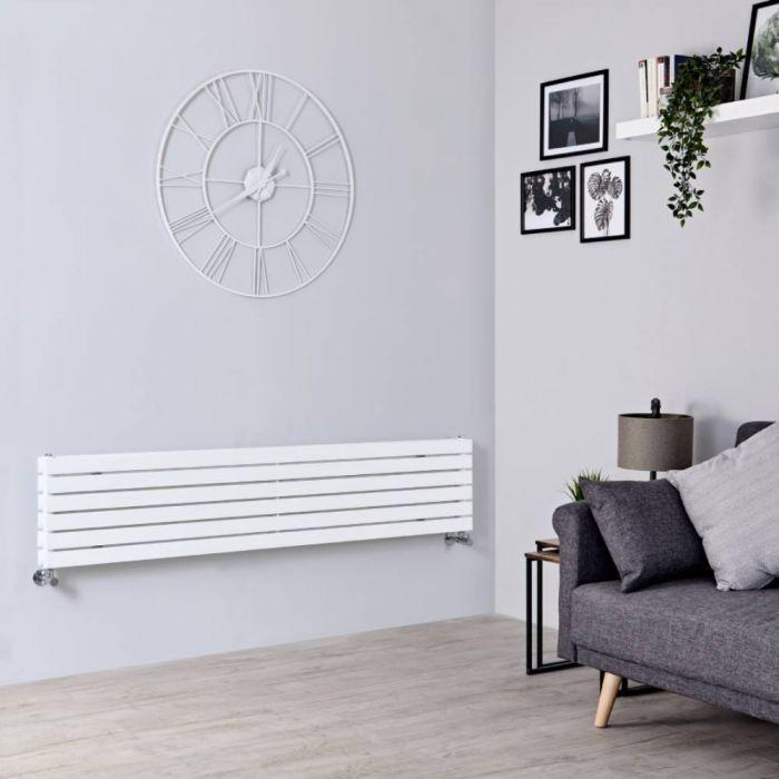 Design Heizkörper Horizontal Weiß 354mm x 1780mm 1426W (doppellagig) - Sloane