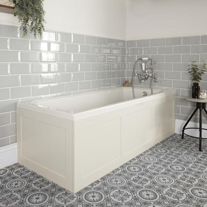 Einbau-Badewanne Weiß mit Verkleidung in Antikweiß 1700mm x 700mm - Richmond