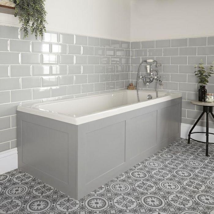 Einbau-Badewanne Weiß mit Verkleidung in Hellgrau 1700mm x 750mm - Richmond
