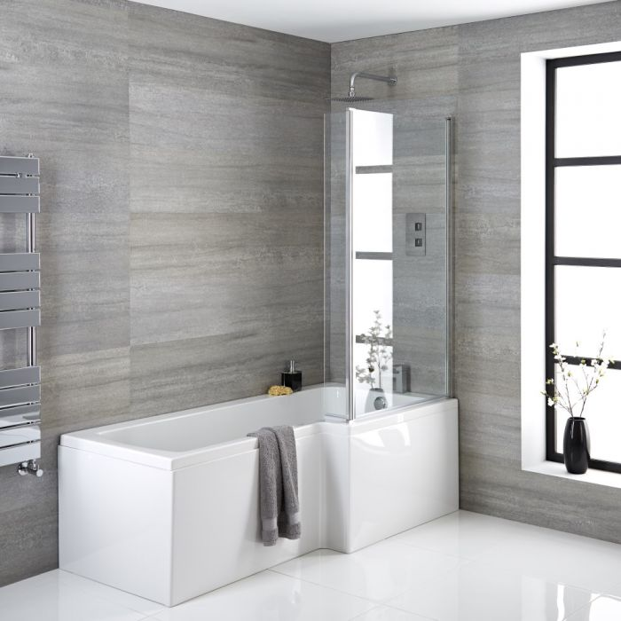 Dusch-Badewanne rechtsbündig 1700x850mm, Verkleidung, Ablauf und Duschaufsatz wählbar - Sandford