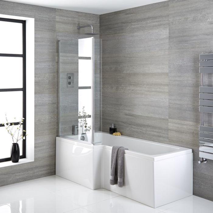 Dusch-Badewanne, linksbündig, 1700x850mm - Schürze, Ablauf und Duschaufsatz wählbar – Sandford