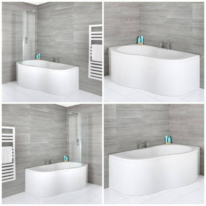 1500mm x 1000mm Eckbadewanne mit Schürze – links oder rechtsbündig und Badewannenaufsatz auswählbar - Ashbury