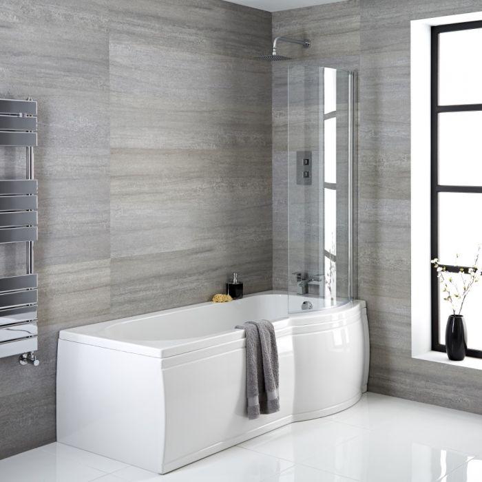 Dusch-Badewanne rechtsbündig P-Form, Größe, Verkleidung, Ablauf und Duschaufsatz wählbar - Belstone
