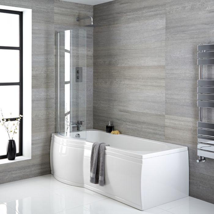 Dusch-Badewanne linksbündig P-Form, Größe, Verkleidung, Ablauf und Duschaufsatz wählbar - Belstone