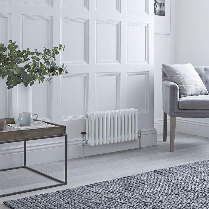Gliederheizkörper Horizontal 3 Säulen Nostalgie Weiß 300mm x 605mm 525W - Regent