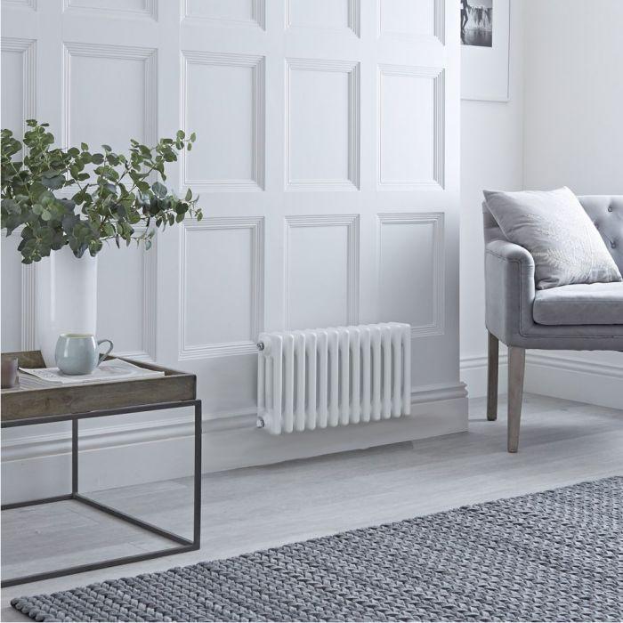Gliederheizkörper, Elektrisch, Nostalgie Weiß, 3-Fach-Säulen, 300mm x 605mm, Auswahl an WLAN-Thermostat - Regent