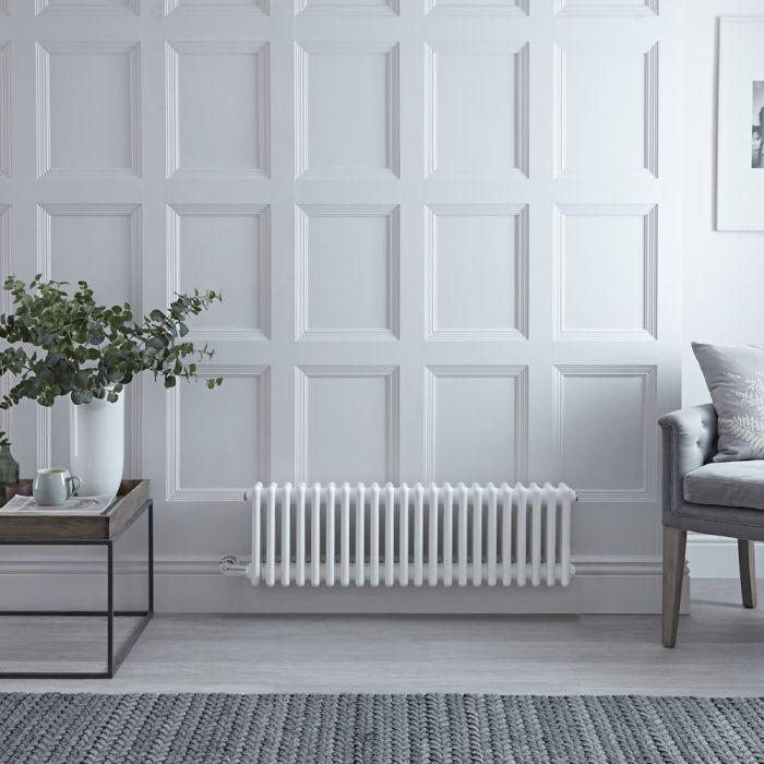 Gliederheizkörper, Elektrisch, Nostalgie Weiß, Dreifach-Säulen, 300mm x 1010mm, Auswahl an WLAN-Thermostat - Regent
