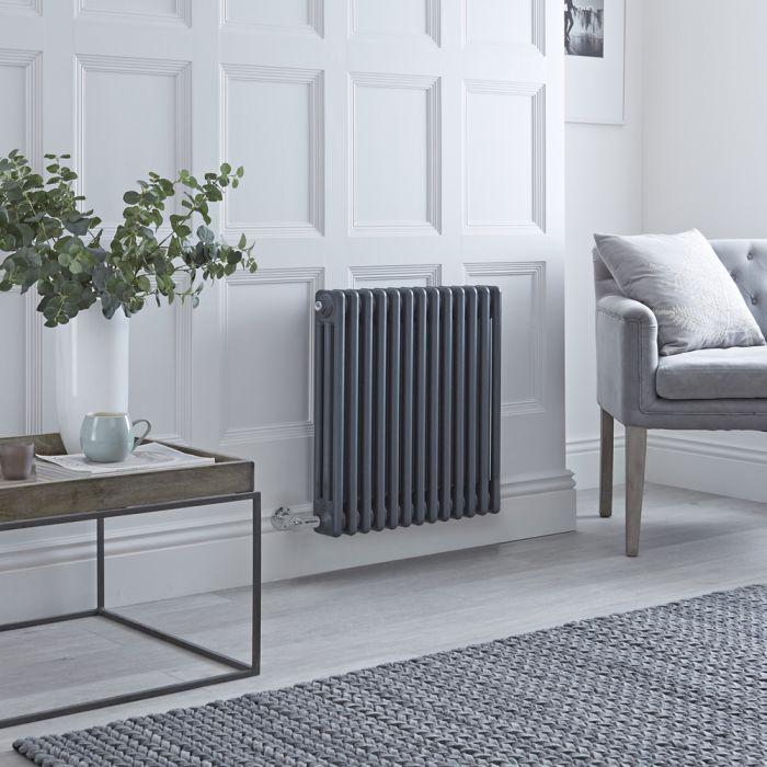 Gliederheizkörper, Elektrisch, Nostalgie Anthrazit, 3-Fach-Säulen, 600mm x 605mm, WLAN-Thermostat auswählbar - Regent