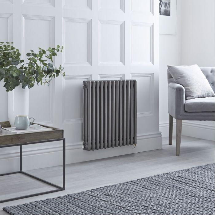 Gliederheizkörper, Elektrisch, Nostalgie Rohmetall, 3-Fach-Säulen, 600mm x 605mm, Auswahl an WLAN-Thermostat - Regent