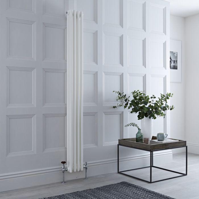 Gliederheizkörper Mischbetrieb Vertikal Weiß 779 Watt/800W Heizelement, 1800x200mm, Ventil & WLAN-Thermostat wählbar - Regent