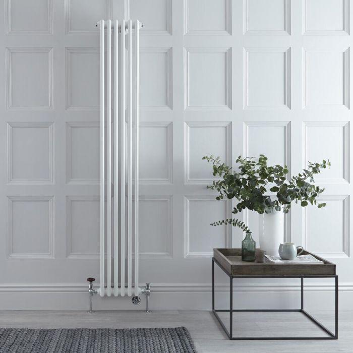 Gliederheizkörper Mischbetrieb Vertikal Weiß 1169 Watt/1200W Heizelement, 1800x290mm, Ventil & WLAN-Thermostat wählbar - Regent