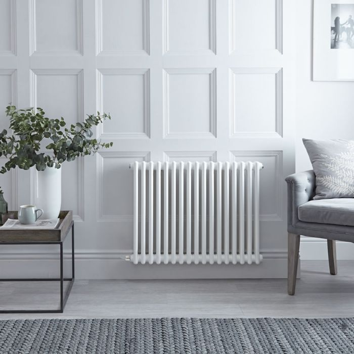 Gliederheizkörper, Elektrisch, Nostalgie Weiß, Doppel-Säulen, 600mm x 785mm, Auswahl an WLAN-Thermostat - Regent