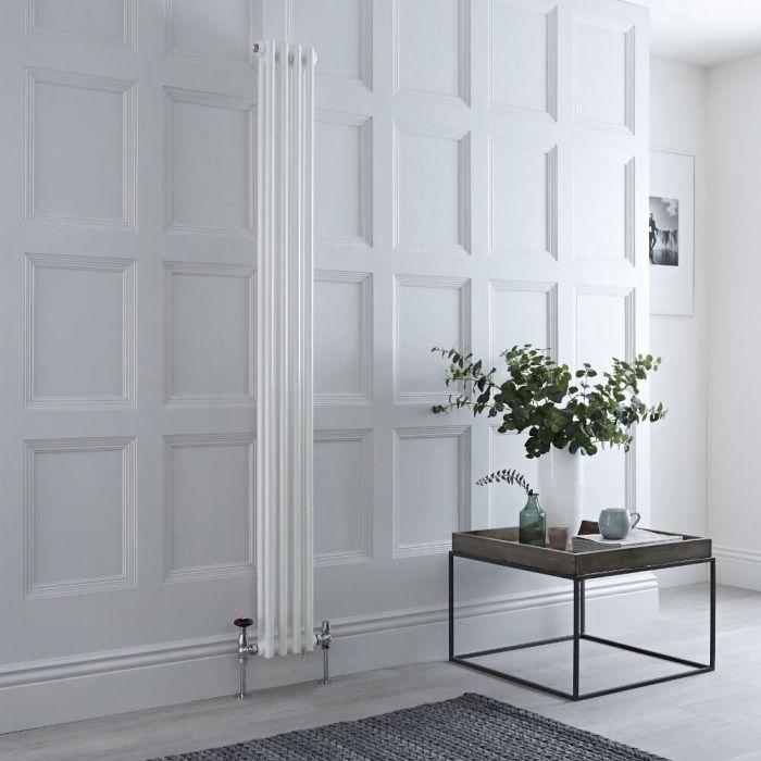 Gliederheizkörper Mischbetrieb 1500mm x 200mm Weiß Vertikal 548 Watt/600W Heizelement, Ventil und WLAN-Thermostat wählbar - Regent