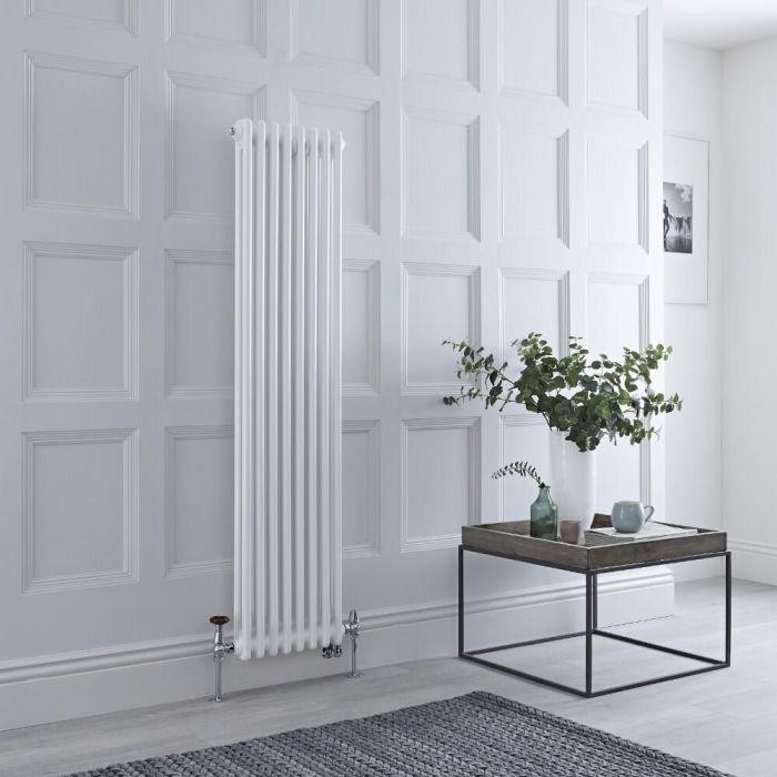 Gliederheizkörper Mischbetrieb 1500mm x 380mm Vertikal Weiß 1095W/1200W Heizelement, Ventil & WLAN-Thermostat wählbar - Regent