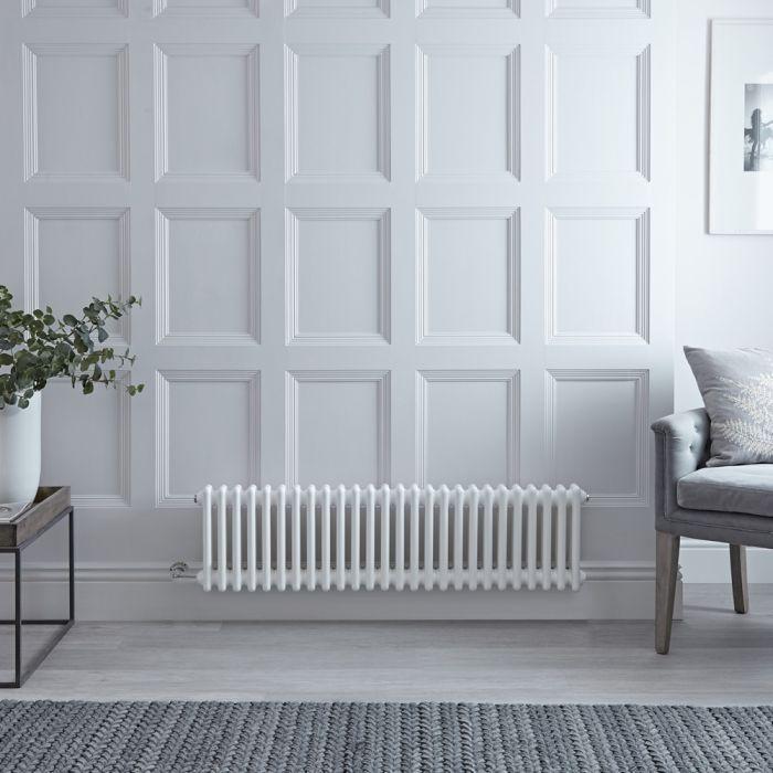 Gliederheizkörper, Elektrisch, Nostalgie Weiß, Doppel-Säulen, 300mm x 1190mm, Auswahl an WLAN-Thermostat - Regent