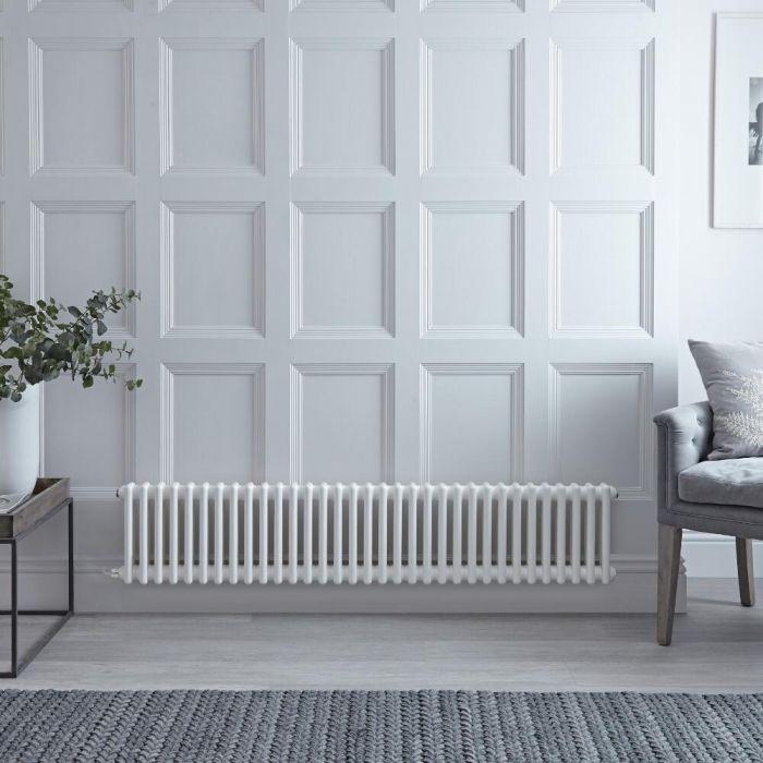 Gliederheizkörper, Elektrisch, Nostalgie Weiß, Doppel-Säulen, 300mm x 1505mm, Auswahl an WLAN-Thermostat - Regent