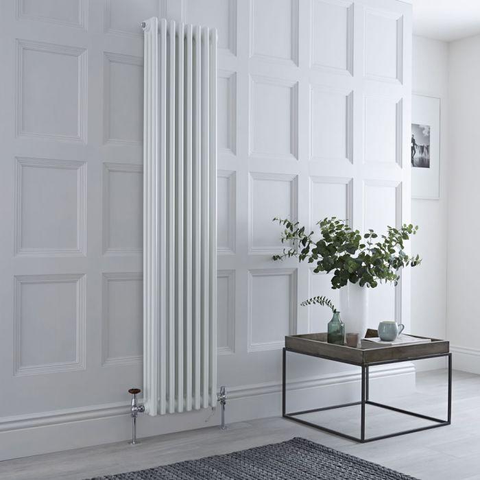 Gliederheizkörper Mischbetrieb Vertikal Weiß 1158 Watt/1200W Heizelement, 1800x380mm, Ventil & WLAN-Thermostat wählbar - Regent