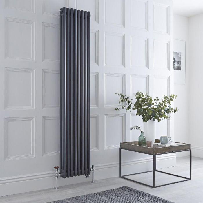 Gliederheizkörper Mischbetrieb Vertikal Anthrazit 1558 Watt/1500W Heizelement, 1800x380mm, Ventil & WLAN-Thermostat wählbar - Regent