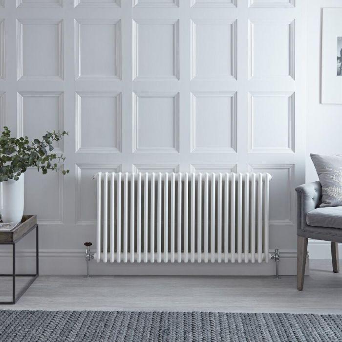 Gliederheizkörper Horizontal 4 Säulen Nostalgie Weiß 600mm x 1190mm 2467W - Regent