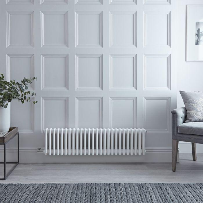 3-Säulen-Elektroheizkörper, Gusseisenausführung, Weiß, 300mm x 1190mm - Auswahl an WLAN-Thermostat - Regent