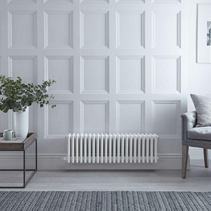 Gliederheizkörper, Elektrisch, Nostalgie Weiß, 4-Fach-Säulen, 300mm x 1010mm, Auswahl an WLAN-Thermostat - Regent