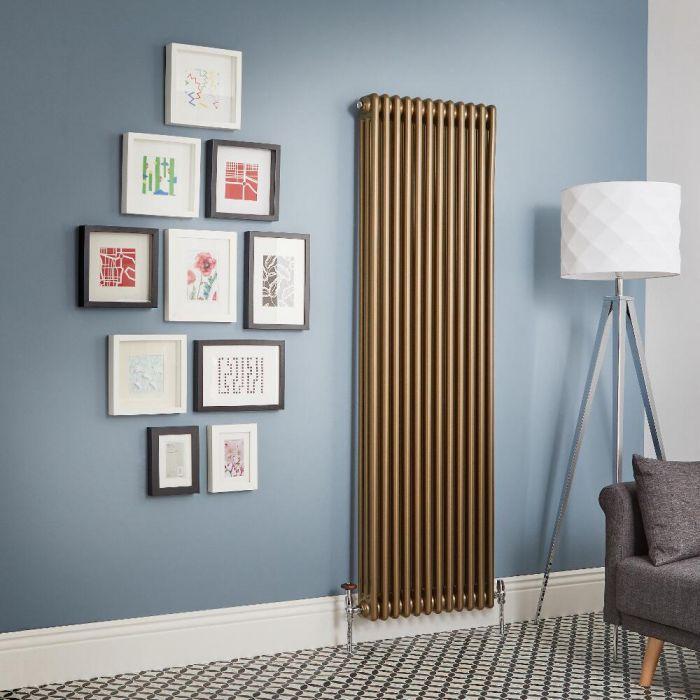 Design Gliederheizkörper Vertikal Traditionell 3 Säulen Metallische Bronze Regent - Größe wählbar