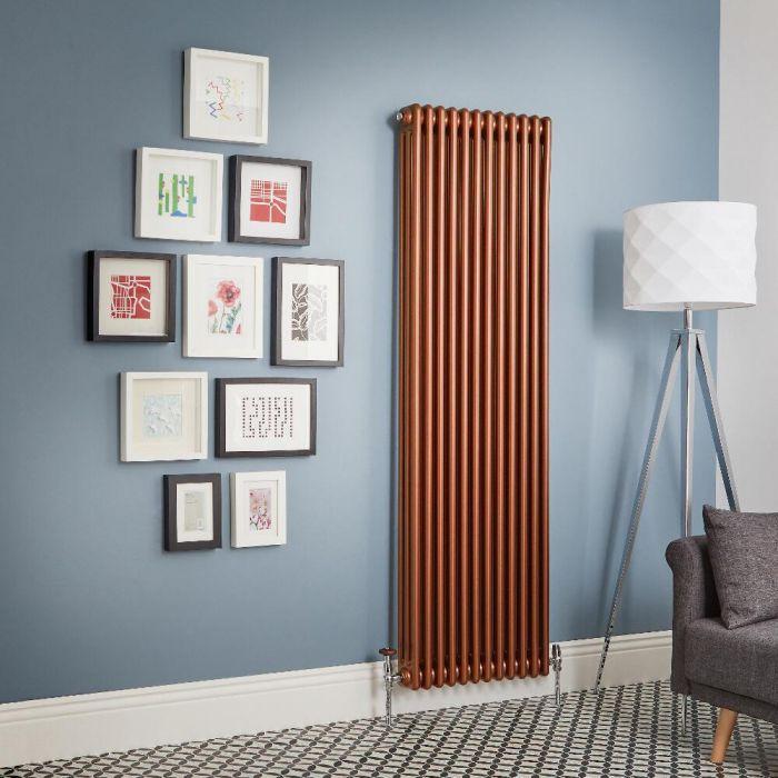 Design Gliederheizkörper Vertikal Traditionell 3 Säulen Metallisches Kupfer Regent - Größe wählbar